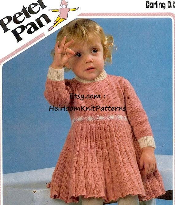 Classic Girls Dress Knitting Pattern Pdf Vintage Baby Toddler