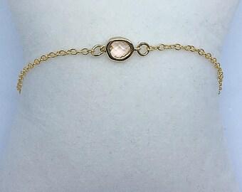 Peach glass bracelet