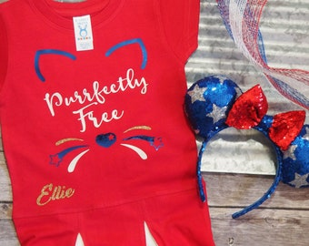 Girls Fourth of July Outfit Fourth of July Dress Toddler Girls July 4th Kitty Cat Shirt Little Girls Dress Purrfectly Free Meow Custom Red
