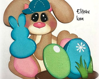 ELITE4U Kam Easter Bunny Embellishments Paper Piecing Die Cut for Premade Page