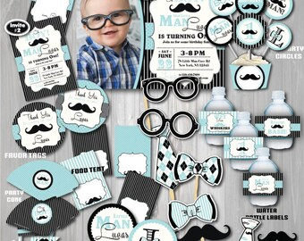 On Sale! Little Man Birthday Party Package- Mustache Birthday Party-Mustache First Birthday-1st Birthday-Mustache party-Little man party