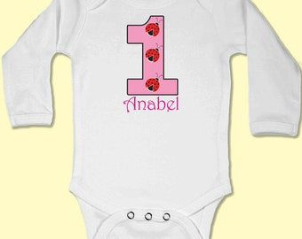 Baby Body Suit - First Birthday 3 Ladybugs // First Birthday Baby Gift // Babygrow