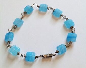 Light blue squares beaded bracelet