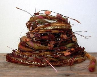 goldilocks and the 3 bears fiber effects™  art yarn bundle 12yd ribbons novelty yarns mixed media fiber sampler pack . brown gold
