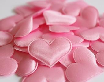 "Pink Heart Satin Confetti 100 Wedding Petals / Pillows 1 1/4"" x 7/8""  Light Pink / Table Scatter / Flower Girl"