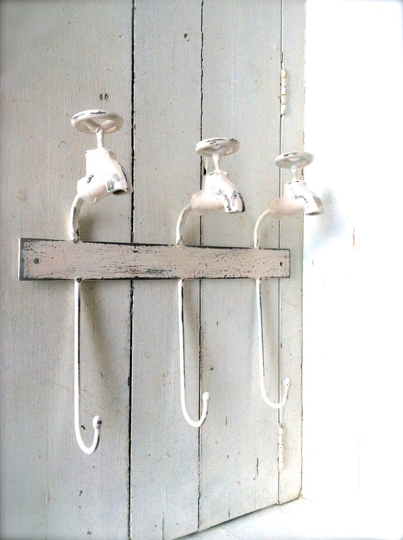 Items Similar To Shabby Chic Bathroom Decor, Towel Hook, Towel Hanger, Iron  Decor, White Bathroom Decor, Bathroom Art, Wall Art, Bathroom Faucet Wall  Decor, ...