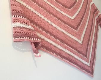 Pink crochet scarf, Triangle crochet shawl, Summer scarf, Summer shrug, Women's scarf, Triangle scarf, crochet wrap