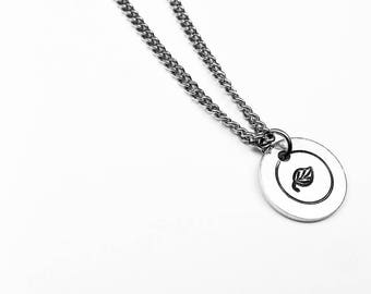Leaf Pendant - Simple Nature Jewelry - Dainty Circle Pendant on Steel Chain