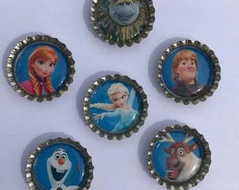 Frozen Magnets, Frozen Refrigerator Magnets, Anna, Elsa, Kristof, Olaf, Sven magnets