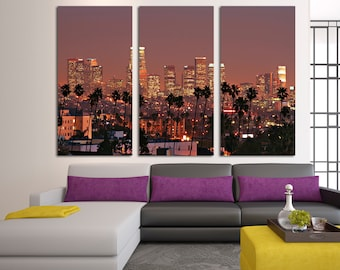 "Downtown Los Angeles Skyline at Dusk - 3 Panel Split (Triptych) Canvas print. Stretched on 1.5"" wood frames - wall decor & interior design."