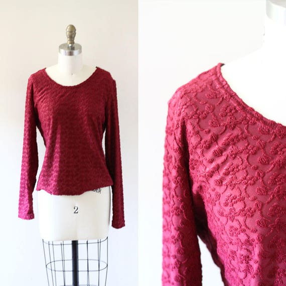 1980s burgundy embroidered long sleeve // 1980s red top // 1980s blouse