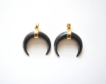 Black OX Bone Crescent pendant ,OX Bone double horn pendants with Gold Plated