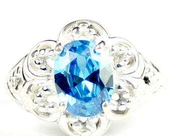 Swiss Blue CZ, 925 Sterling Silver Ring, SR125