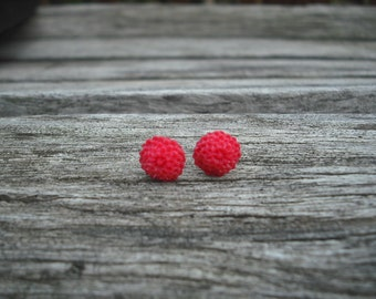 red mum post earring