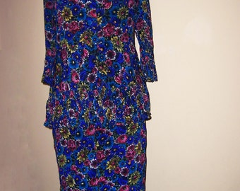 1940's Flowery Crepe Summer Suit