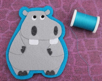 Hippopotamus- Felt Animal Applique - Iron on Patch OR Ornament - Sew On Patch - Beauregard the Hippo