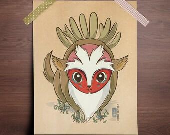 Chibi Ghibli Print - Forest Spirit (Princess Mononoke)