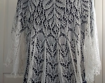 Hand knitted intricate lace pure silk shawl-weddings-evening wear-occasion wear-beaded lace-gift for her-