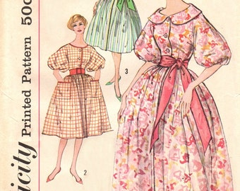 Simplicity 3203 Happy Housewife's Housecoat, Housedress & Sash / ca. 1959 / SZ14 UNCUT