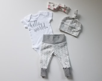 Gender Neutral Baby Coming Home Outfit. Hello World. Gender Neutral Baby Take Home Baby Outfit. Gender Reveal Outfit.
