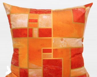 "Luxury Orange Geometry Digital Printing Flannel Pillow 20""X20"""