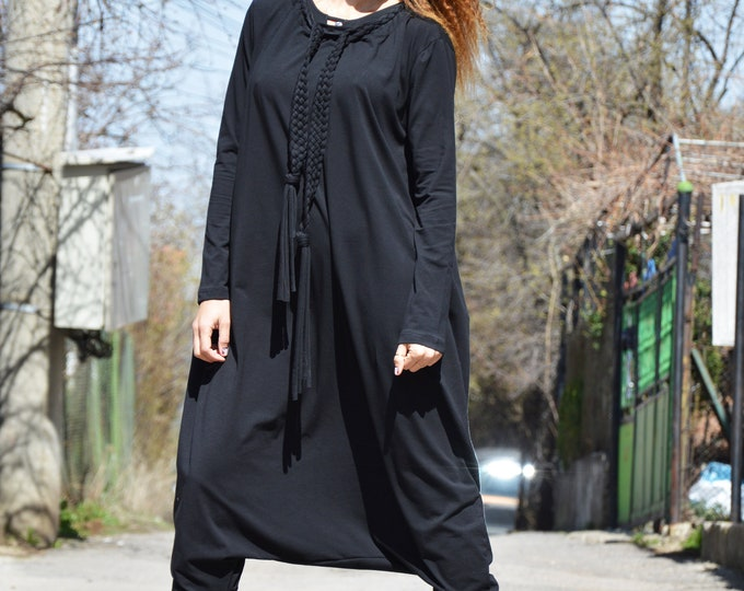 Black Drop Crotch Jumpsuit, Urban Casual Cotton Jumpsuit, Extravagant Loose Jumpsuit, Women Romper by SSDfashion
