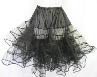 Crinoline Petticoat Mad Men Slip Black Slip Pin up Sock Hop Goth Slip Square Dance Slip
