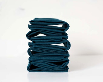 Teal blue linen napkin set of 8  - cloth linen napkins for table - linen napkins