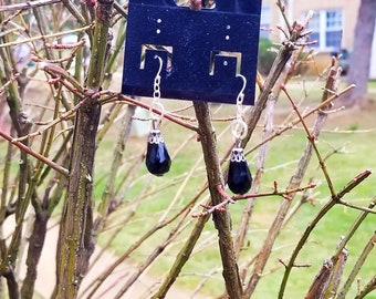 Black Teardrops (.925 Sterling Silver) Designer Earrings