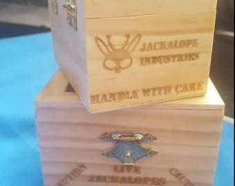 Wooden Crate of Live Jackalopes