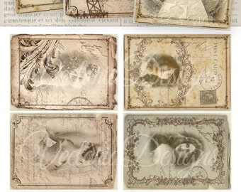 Shabby Chic Women ATC vintage images printable instant download digital collage sheet VD0393