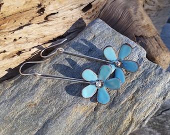 Torch fired enamel flower earrings, Daisy Earrings, flower earrings, Bridesmaids gift ideas, copper Enamel Earrings