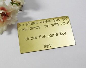 Brass wallet insert boyfriend deployment gift wallet insert military boyfriend gift for men wallet insert card personalised gift for him