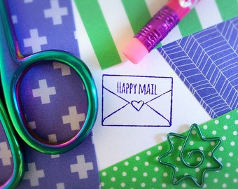 Happy Mail Stamp ~ pen pal rubber stamp, postcrossing, postmark, heart, love letter, envelope, post, friend, mailart, stamper, cute, kawaii
