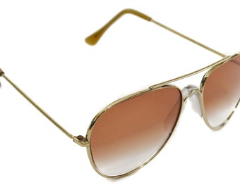Vintage 70s Foster Grant Deadstock Aviators Gold Rimmed Drop Lens Shades Sunglasses with Noseguard