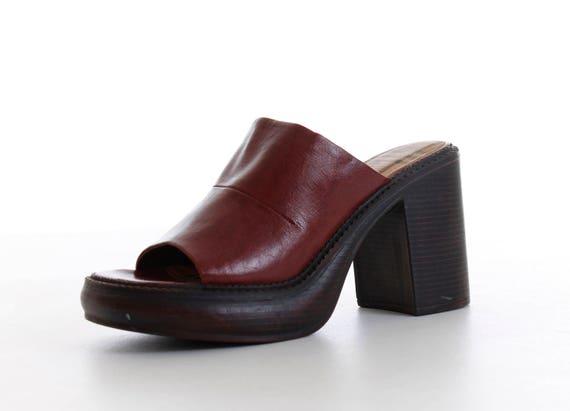 5 Chunky US9 Mules Brown Vegan 9 Block Women's 7 EU Shoes 5 90's 5 Shoes Sandals Leather Platform Retro Vintage Size 40 1990's Heel UK UxBOw