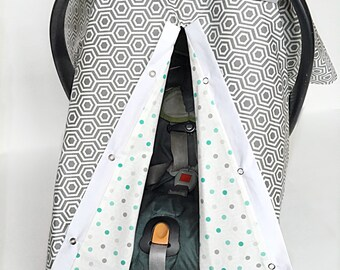 Car Seat Canopy - Carseat Cover - Baby Carrier Cover - Baby Carseat Cover - Gender Neutral Car Seat Cover - Infant Carrier Canopy