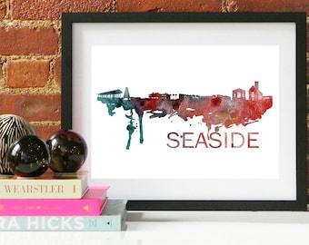 Seaside Watercolor Skyline, Seaside Skyline, Seaside Art, Seaside Poster, Seaside Print, Seaside Art, Seaside Map, Seaside Wall Art,