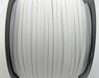 3mm flat faux suede leather cord,white,3X1.5mm,1-5yards