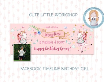 facebook template, photoshop, facebook cover, birthday, unicorn, editable, birthday cover, timeline cover, facebook timeline