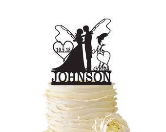 Mr. Mrs. with Bride and Groom - Fishing Poles With Date or Initials and Last Name  - Standard Acrylic - Wedding - Fishing Cake Topper - 135