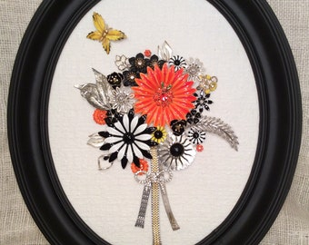 Mod Jewelry Collage - Black and Orange Flowers