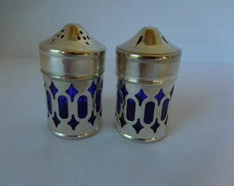 Vintage Cobalt Blue Glass and Silver Plate Salt and Pepper Shakers/Set of Two