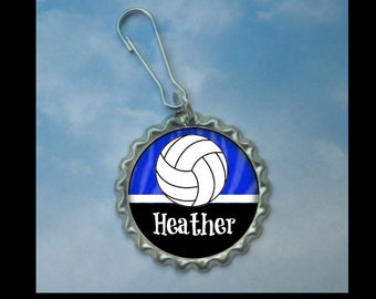 Volleyball gift etsy 1 personalized royal blue volleyball bottlecap zipper pullglitter or plain 15 colors negle Images