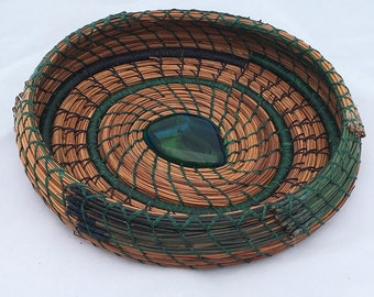Pine Needle Basket Blue n Green Glass Center- Item 770 by Susan Ashley