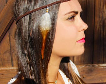 "Light brown and white cock feather gift Christmas woman - ""squaw"" leather braided headband"