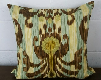 Gold, Bronze, Soft Mint Ikat Moroccan Bohemian Design Exclusive Cushion Pillow Cover by Peacock and Penny. 45cms x 45cms