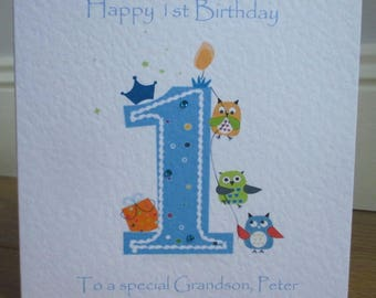 Personalised 1st Birthday Owls Card available in pink or blue