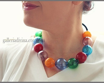 Blown glass rubber necklace -Glass bubbles - Spheres - Colorful transparent beads - statement necklace - Rubber necklace - Murano glass