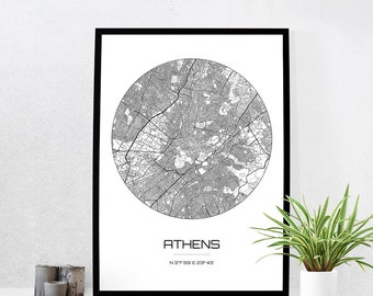 Athens Map Print - City Map Art of Athens Greece Poster - Coordinates Wall Art Gift - Travel Map - Office Home Decor